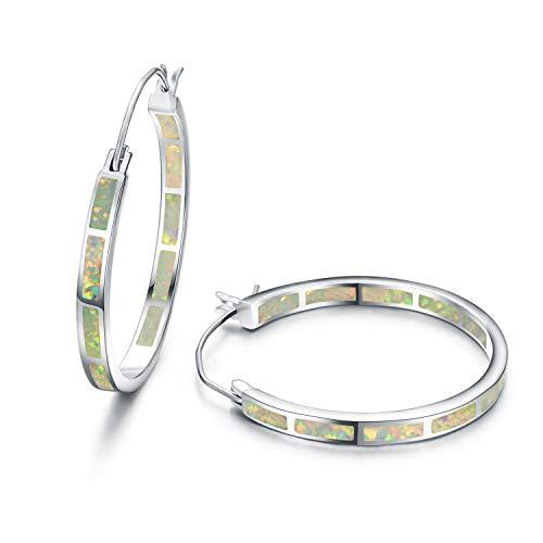 (Tingle Sterling Silver Hoop Earrings Silver White Fire Opal Earring For Women Large Opal Hoop Earrings)