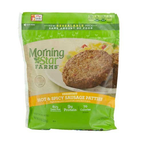 Morningstar Farms Breakfast Hot and Spicy Sausage Patties, 8 Ounce -- 6 per case.
