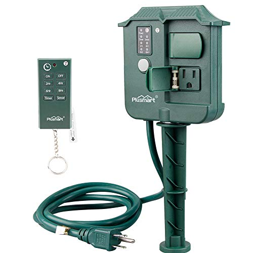 Price comparison product image Plusmart Outdoor Power Stake Timer with Photocell Light Sensor and Wireless Remote Control, 3 Waterproof Outlets with Cover for Yard, Garden, 6ft Cord, UL listed