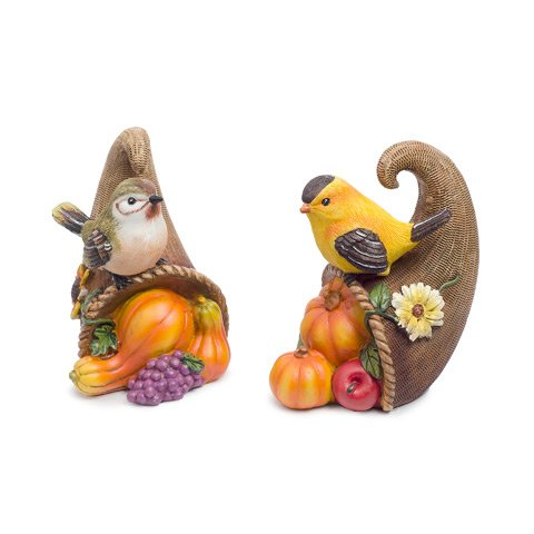 Darice 30028247 Miniature Bird and Cornucopia Figurine, 2 Assorted