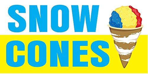 Pre-Printed Snow Cones Banner - Stripe - Yellow (8' x (Snow Cone Stripe)