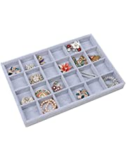 Stylifing Grey Velvet 12 Grid Jewelry Tray Showcase Removable Display Storage Box for Girls Women ¡