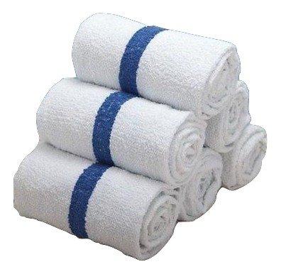 2 DOZEN NEW (24 pcs ) 22x44 BLUE STRIPE BATH TOWELS POOL ...