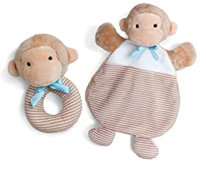 North American Bear First Friends Baby Cozy and Rattle Set, Monkey Tan/Blue