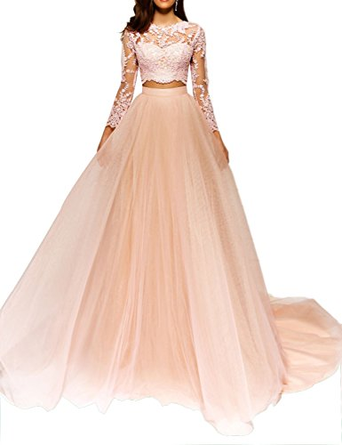 2018 Two Piece Lace Long Elegant Prom Dress For Women Sexy Open Back With Sweep Train Formal Ball Gown WSPM544 Champagne Size 10 (Design Train Sweep)