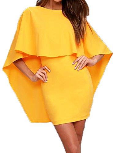 Halife Women's Dress Batwing Sleeve Cut Back Party Bodycon Dresses Yellow,M (Dress Skirt Drape)