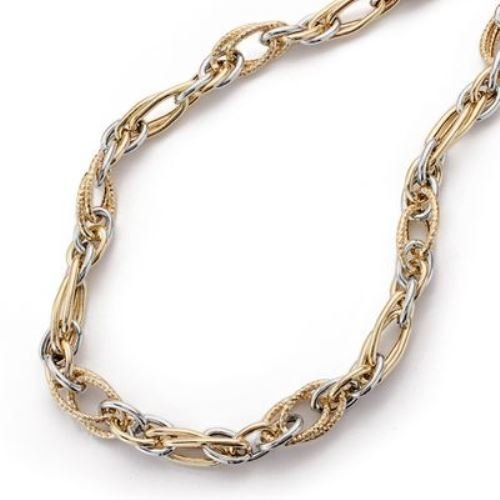 9k collier en or bicolor 45 cm.