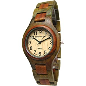 Tense Mens Sandalwood & Green All Wood Mens Round Watch G7509GS