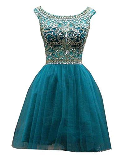 Blau Damen Ärmelloses Gaze Perlen Heimkehr emmani Weiß Kleid B10fTWwq