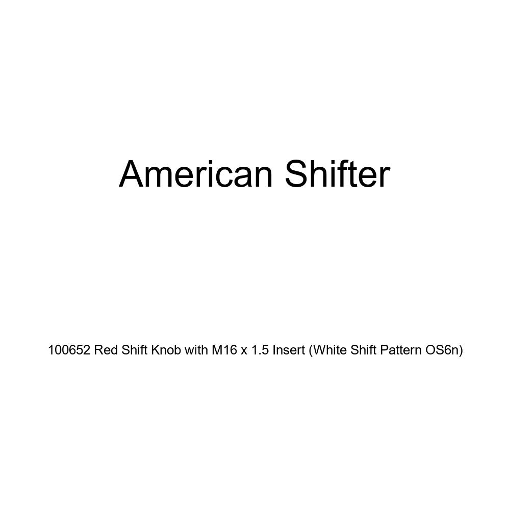 American Shifter 100652 Red Shift Knob with M16 x 1.5 Insert White Shift Pattern OS6n