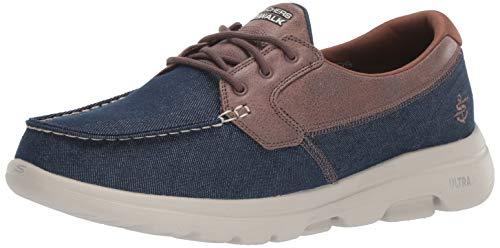 Skechers Men's GO Walk 5-55502 Sneaker, Navy/Brown, 11 M US