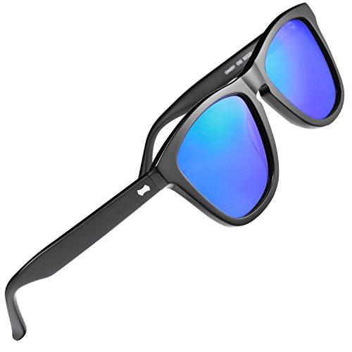 Carfia Chic Retro Polarized Sunglasses for Women Men丨Designer Sunglasses with Case丨100% UV400 Protection (C: Black Frame Blue Mirror) (Clothing Designer Retro)