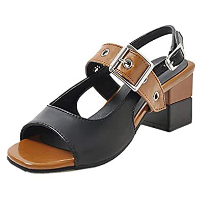RAZAMAZA Women Fashion Block Mid Heel Sandals Open Toe Shoes Back Band Cosplay Shoes Brown Size 32 Asian