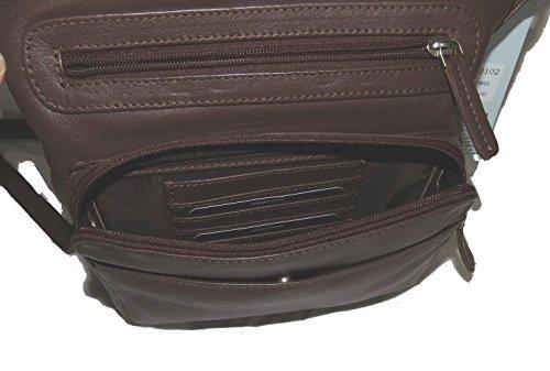 Travel with Brown Pielino Crossbody Genuine Organizer Pocket Leather Handbag 3102 wUTzgU