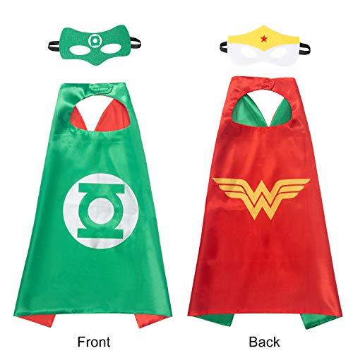 AMASKY Superhero Dress Up Costume Set, Double-Sided Satin Capes with Felt Masks for Kids (Lantern-Wonder Woman) -