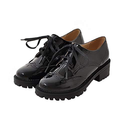 À Noir Unie Verni Talon Lacet Chaussures Correct Couleur Femme Gmbdb010910 Légeres Agoolar qOwZtWAZ