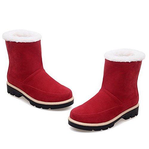 AllhqFashion Mujeres Puntera Redonda Mini Tacón Esmerilado Caña Baja Sólido Botas Rojo