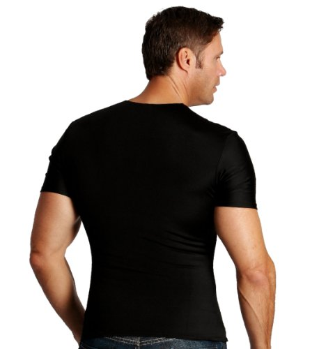 Insta Slim Mens Compression Crew-Neck T-Shirt (INT), The Magic Is In The Fabric! (3X-Large, Black) by Insta Slim (Image #1)
