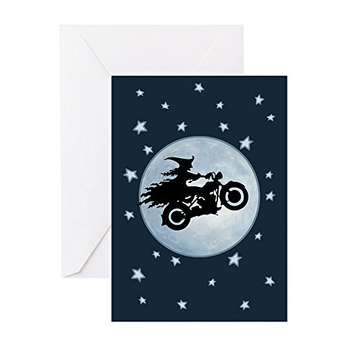 (CafePress - Witch-Biker-Moon-CRD Greeting Cards - Greeting Card, Note Card, Birthday Card, Blank Inside)