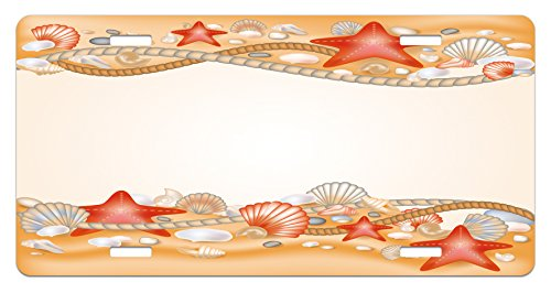Ambesonne Beach License Plate, Sand Seashells Starfish and Ropes Marine Inspirations Abstract Coast, High Gloss Aluminum Novelty Plate, 5.88 L X 11.88 W Inches, Pale Orange Vermilion Cream (Rope Inspirations)