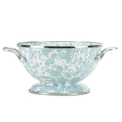 Enamelware - Sea Glass Teal Swirl Pattern - Petite Colander