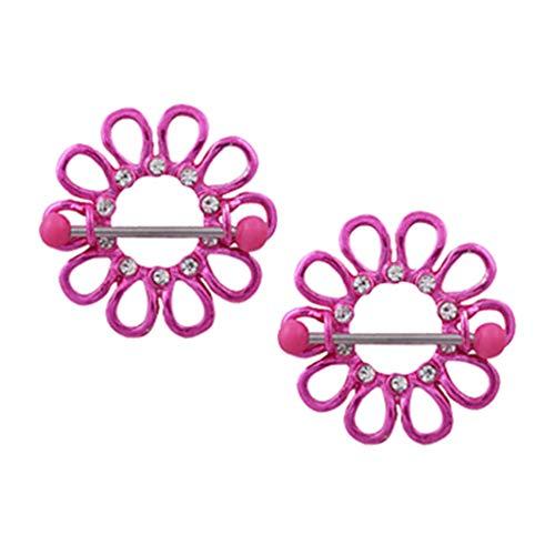 - 2pcs Romantic Pink Flower Nipple Barbell Ring Shield Piercing Body Jewelry