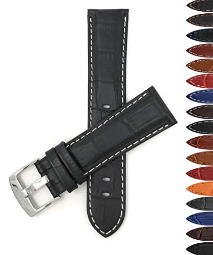 Bandini 22mm Mens Italian Leather Watch Band Strap - Black with White Stitch - Alligator Pattern