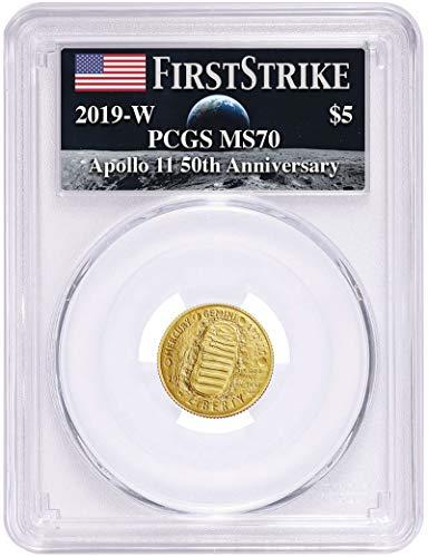 (2019 W Apollo 11 50th Anniversary Commemorative Coin $5 MS70 PCGS)