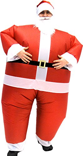 [Santa Claus Inflatable Chub Suit Costume With Beard and Hat (TEEN)] (Inflatable Chub Suit Costume)