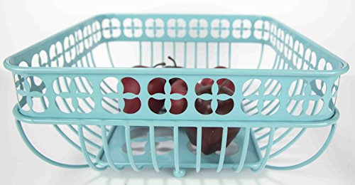 Home Basics Trinity Collection Pantryware Organization Set, Turquoise (Fruit Basket Square) by Home Basics