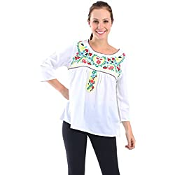 Village Venture- Blusa Casual Bordada 20176-Mediano-Blanco