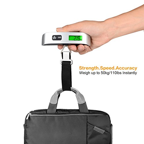 ZEERKEER Luggage Scale, 110lb/50kg Digital Hanging Luggage Scale for Travel with Backlight LCD Display,Rubber Paint Handle,Temperature Sensor (Black)