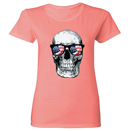 Amazing Items Skull With American Flag Sunglasses For Halloween And Day Of The Dead Women's T-Shirt, Small, - Story Glasses American Horror