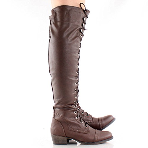 Breckelles ALABAMA Premium Combat Lace High Tall Boots Knee 12 Up Brown Women's aw5qra