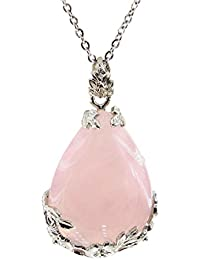 """Teardrop Necklace Natural Crystal Stone Pendant on 20"""" Stainless Steel Chain"""