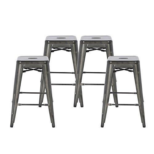 Buschman Set of Four Dark Gun Metal Dark Grey 24 Inches Counter Height Tolix-Style Metal Bar Stools, Indoor/Outdoor, Stackable