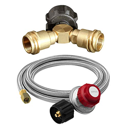 Kesoto Stainless Steel Propane Regulator with 4 'BP Pipe QCC1 / Type 1 + 3 Port Y Propane Gas Separator Adapter