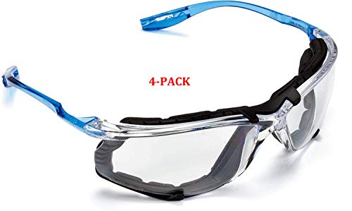 Safety Glasses, Virtua CCS Protective Eyewear 11872, Removable Foam Gasket, Clear Anti-Fog Lenses, Corded Ear Plug Control System (11872-00000-20 (4-Pack))