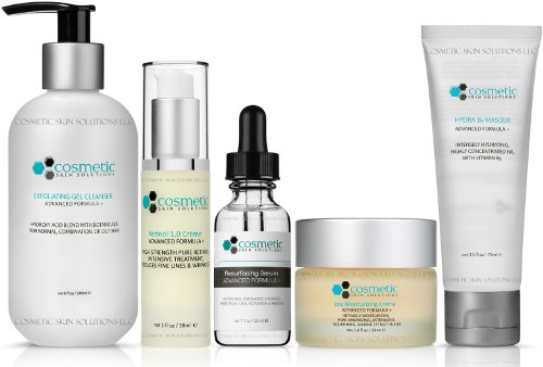 Cleanse | Correct | Resurface | Moisturize | Masque - 5 Combo Pack - Includes Luxurious Pore-refining Cleanser (8 oz), Retinol 1.0 (1 oz), Resurfacing Serum (1 oz), Moisturizer (50g), Intensely Hydrating B5 Masque (2.5 oz), Advanced Formula for MAXIMUM Ef by Cosmetic Skin Solutions LLC