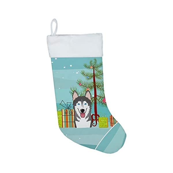 Caroline's Treasures BB1590CS Christmas Tree and Alaskan Malamute Christmas Stocking, Large, Multicolor 1