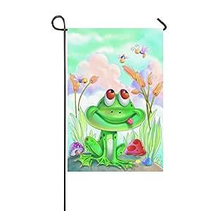 Custom home al aire libre jardín bandera verde rana con seta largo jardín bandera Banner 12x 18inch