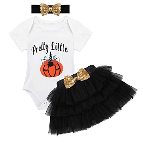 18b09fd993360 iEFiEL Infant Baby Girl's Outfits Halloween Pumpkin Tutu Romper with Tutu  Skirt Headband Set Black 6