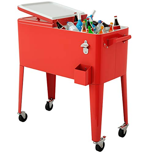 Giantex 80 Quart Cooler Cart Outdoor Cooler Cart on Wheels Patio Rolling Ice Chest for Beer Beverage Party Portable Cooler with Castors, Beverage Cooler Cart, Red Metal