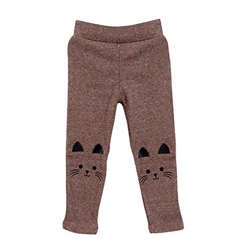 Weixinbuy Baby Kids Girl Cat Print Tight Stretch Leggings Pants ()