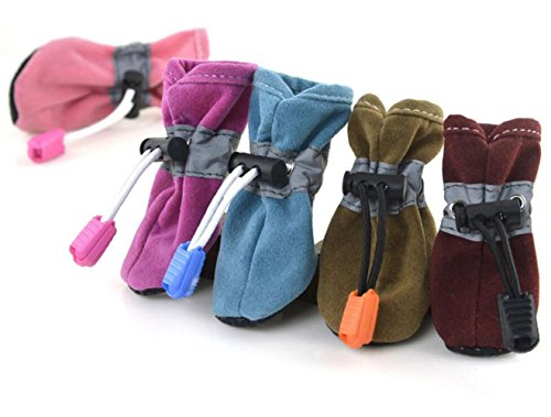 PLHF Paw Protector Dog Boots Waterproof Soft Protective and Skid-proof Set of 7 Size Brown 0Uph7Z4TW
