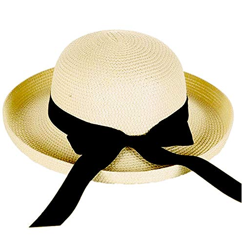 (Andy&Esther Hand-Weaved Turn Up Brim Beach Hat UPF50 Sun Hat for Women Straw Hat (Light Color))