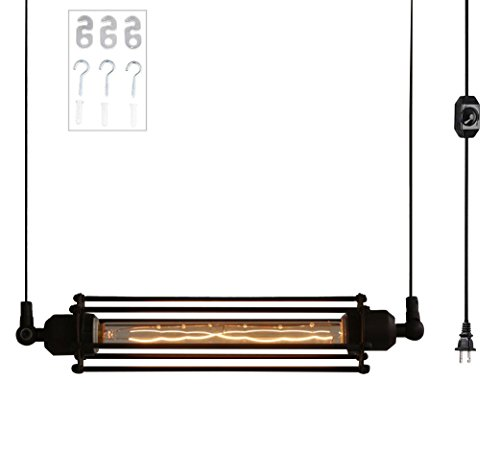 (Pendant Light Plug in, Ivalue Industrial Metal Warehouse Cage Pendant Lighting for Kitchen Island Hanging Light)