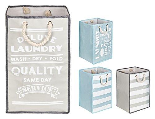 TOPP4u Wäschekorb in grau - weiß mit 45 L, 30x30x50 cm - 1 standfester, quadratischer Wäschesammler mit tollem Design, faltbarer Wäschesack bzw. Wäschetonne