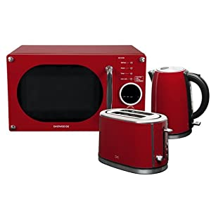 Daewoo Microwave Toaster And Kettle Package Red Amazon
