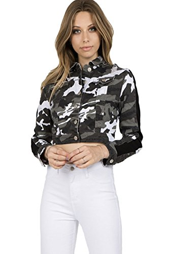 TwiinSisters Women's Basic Classic Casual Destroyed Button Down Denim Jacket - Size Small to 3X (Small, Yellow Camo/Black #Rjk2068)
